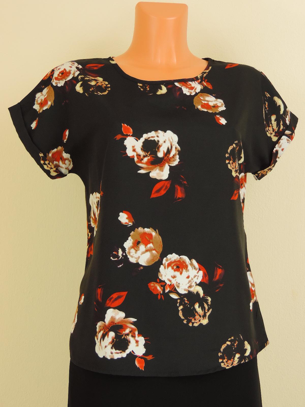Černá tunika s květy. - Second hand online - Fashion Princess Kate e702c2659e